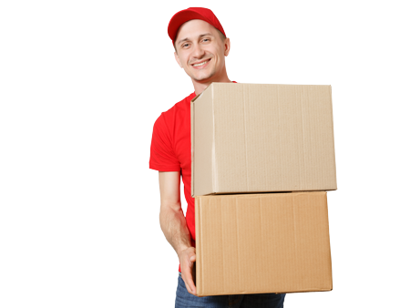 man in red delivering parcel