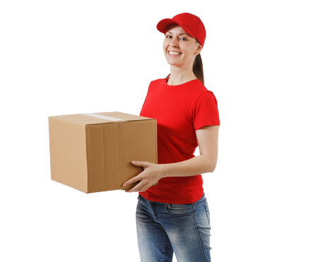 woman in red delivering parcel